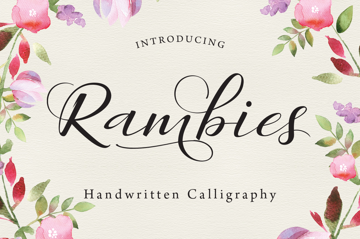 Rambies Handwritten Calligraphy Script Fonts On: handwriting calligraphy