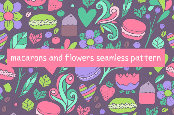 Macarons & flowers. Vector pattern - Patterns