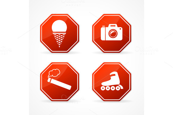 Vector Sign Forbidden On White