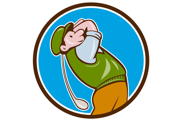 Vintage Golfer Swinging Club Teeing