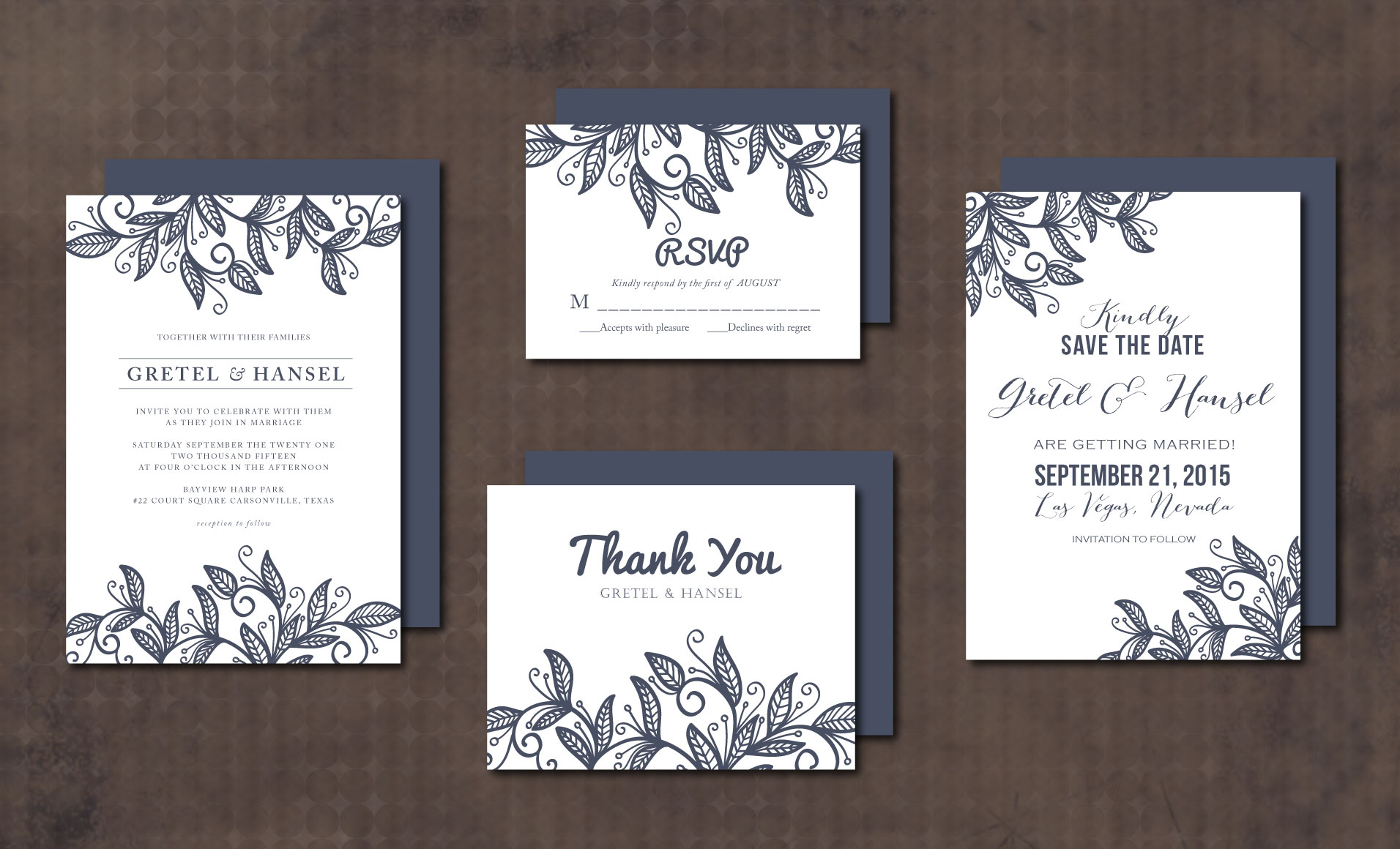 Wedding Invitation Suite Templates: Wedding Invitation Suite Leaves