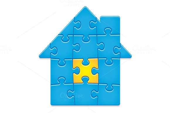 Jigsaw Puzzle House. 14 pieces. - Illustrations