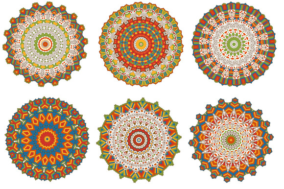 Set Of 6 Multicorom Mandalas