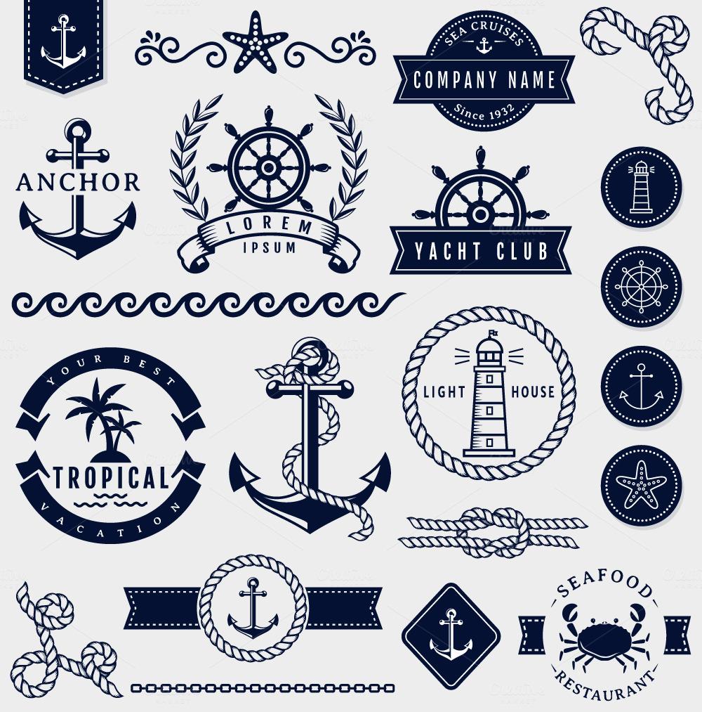 Key Elements Of Nautical Style: Sea And Nautical Design Elements.