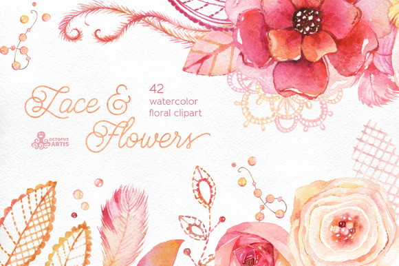 Lace & Flowers. Floral clipart - Objects