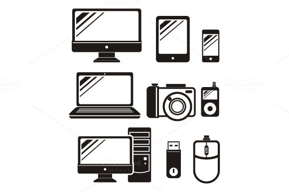 Digital Devices In Black Icon Set