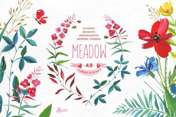 Meadow. Floral clipart - Objects