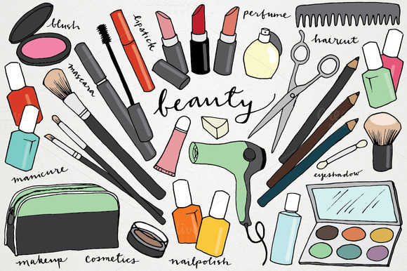 makeup amp beauty handdrawn clipart illustrations on