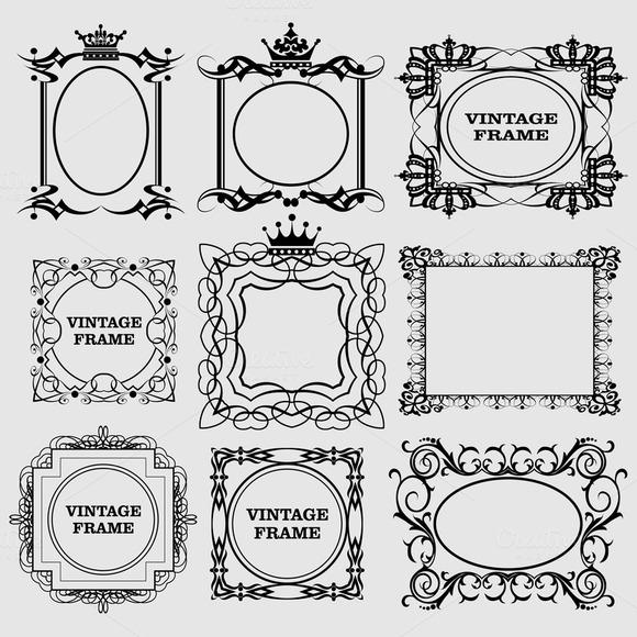 Vector Decorative Frames Vintage Set