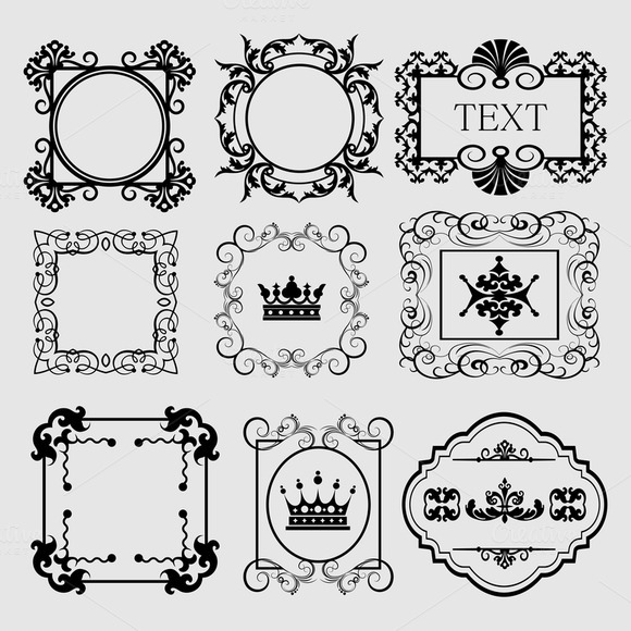 Vector Decorative Frames Vintage Set