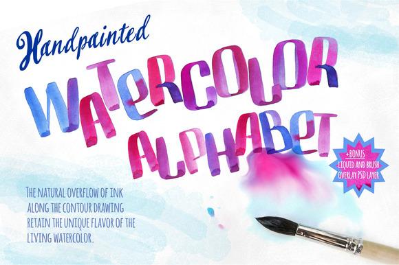 Handpainted Watercolor Alphabet