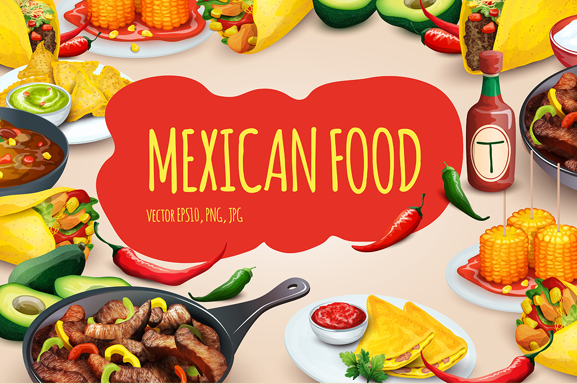 Mexican food vector set illustrations on creative market for Poster deco cuisine