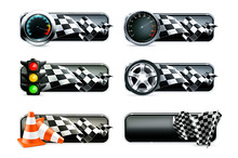 Racing banners with checkered flags