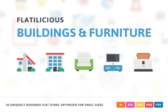 Buildings Furniture Flat Icons