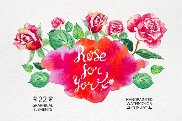 *Rose For You* Watercolor Flower*