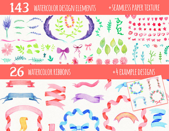 Watercolor Ribbons And Clipart