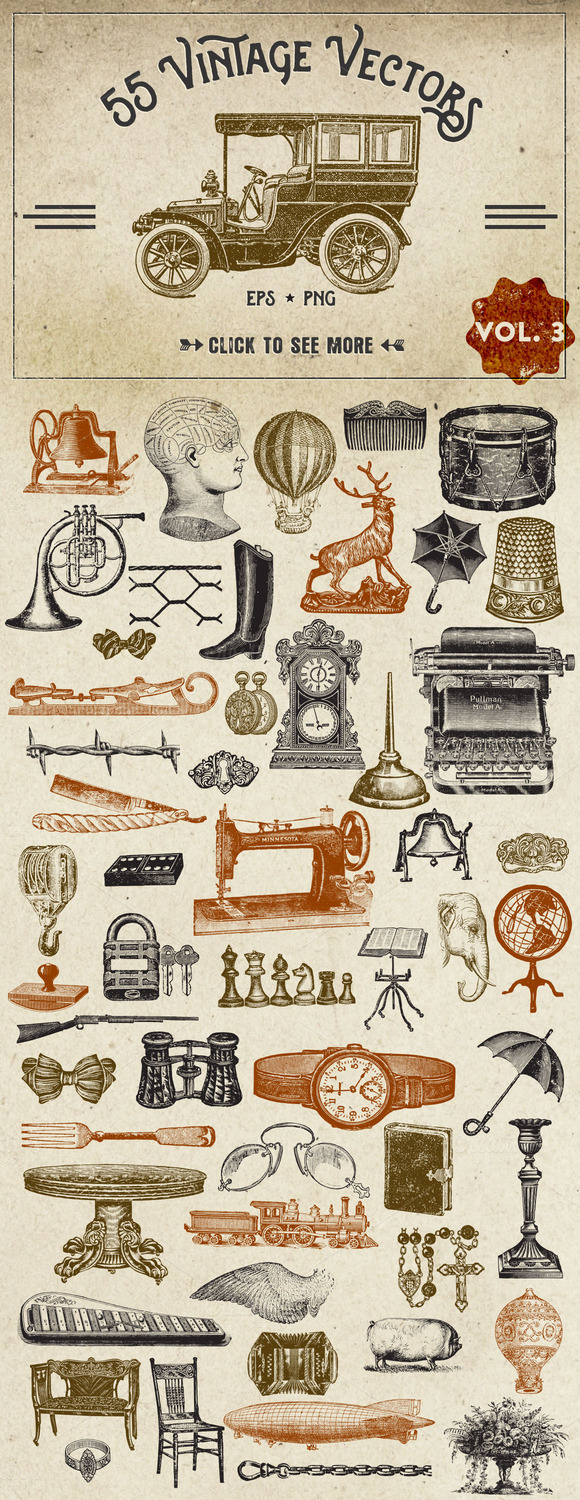 Vintage Vector Graphics Vol. 3 - Objects