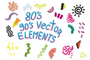 90's 80's Geometric Vector shapes