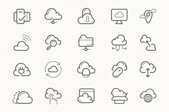 Cloud Service Hosting Line Icons