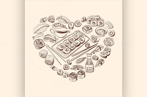 Sushi and rolls. Heart Background - Illustrations