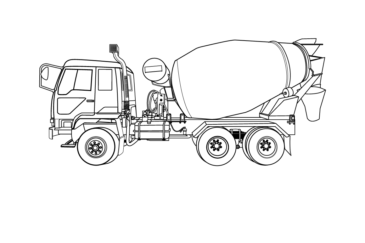 Cement mixer truck on white ~ Illustrations on Creative Market