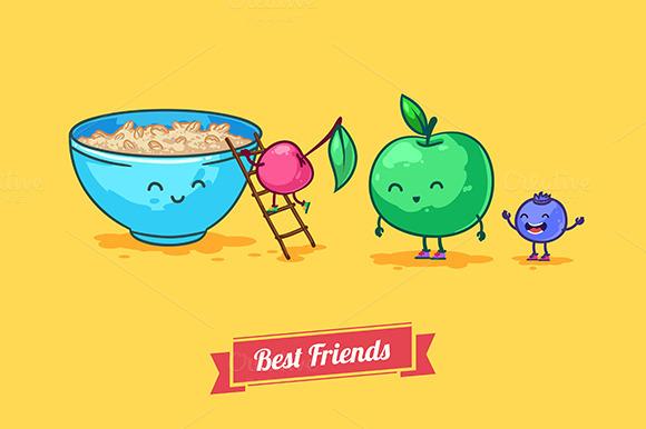 Fruit Diet Vector Funny Cartoons