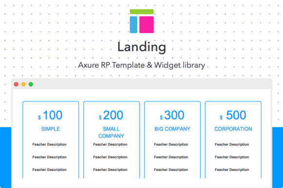 Axure template landing website templates on creative for Axure tablet template