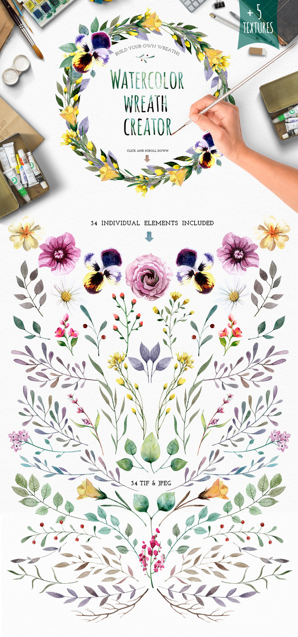 Watercolour elements. Wreath creator - Illustrations