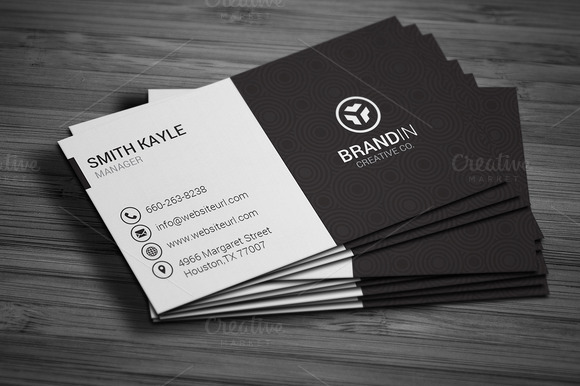 Simple black white business card business card for White business card template