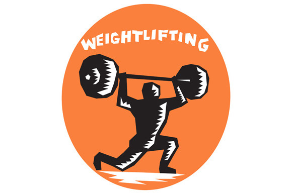 Weightlifter Lifting Weights Oval Wo