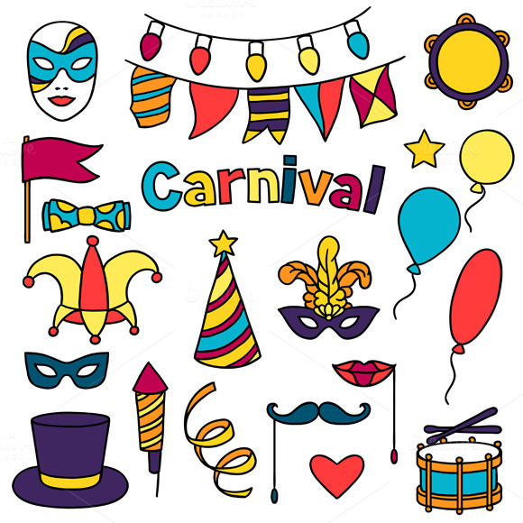 Carnival Show Set Of Doodle Icons