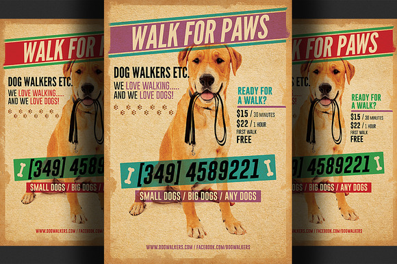 Dog walkers flyer template 2 flyer templates on creative for Dog walking flyer template free