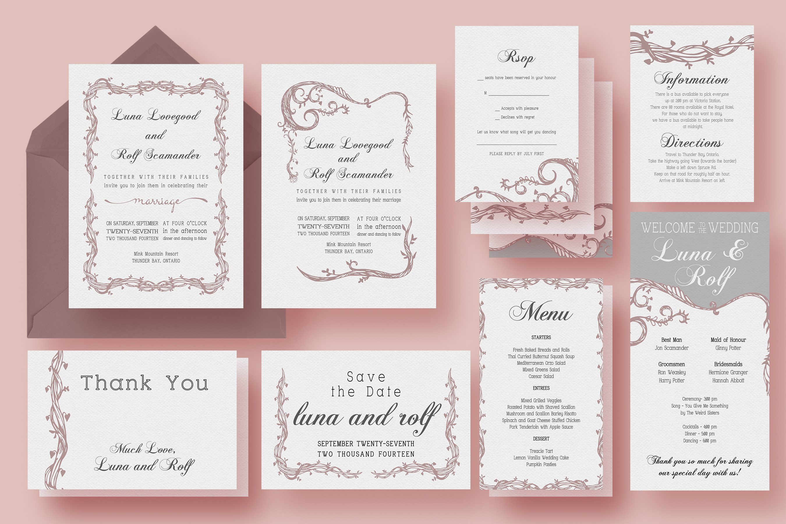 Wedding Invitation Suite Templates: Vine Wedding Invitation Suite