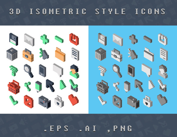 Isometric 3D Style Icons