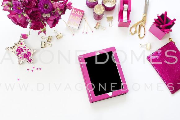 IPad Hot Pink Desktop Stock Photo