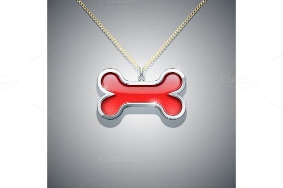 bone on chain. jewellery decoration - Illustrations