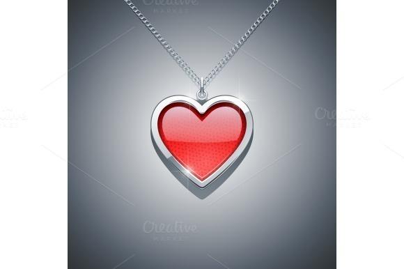 heart on chain. jewellery decoration - Illustrations