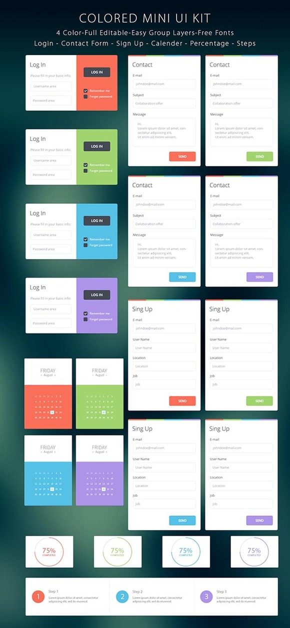 Colored Mini Login UI Kit