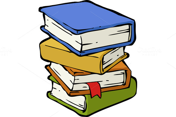 a stack of books   illustrations on creative market Clip Art Stack of Books Cartoon Pile of Books