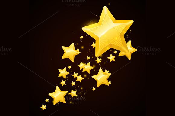 Vector gold star black background ~ Illustrations on ...