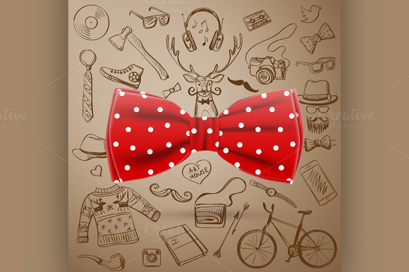 The Bow Tie With Hand-drawn Hipster