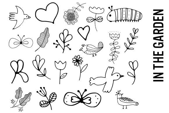 Line Drawing Doodles : Garden line drawing doodles illustrations on creative market