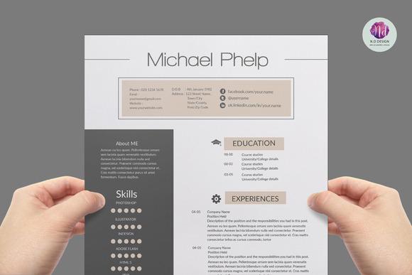 modern   chic cv template  resume templates on creative marketprofessional resume template