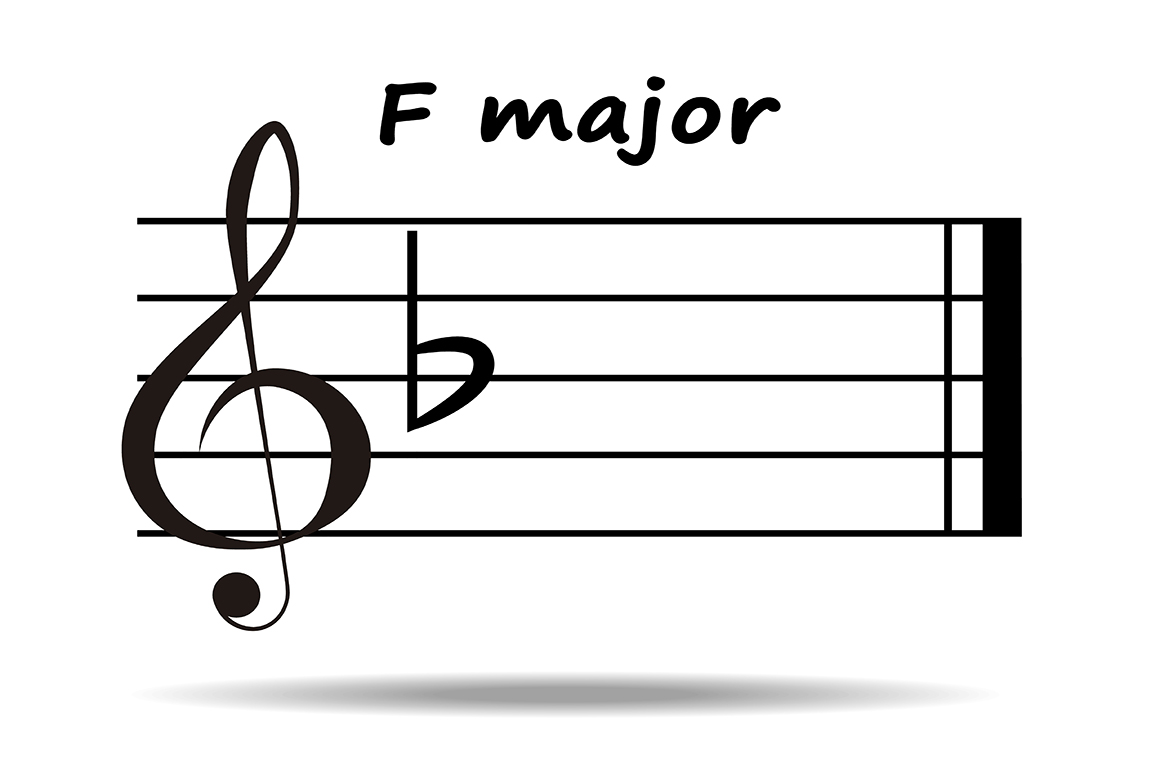 F Major F Major Key One Flat Illustrations On