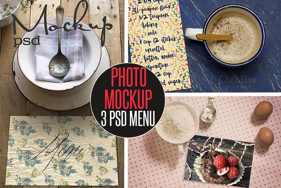 3 Menu PSD Photo Mockup