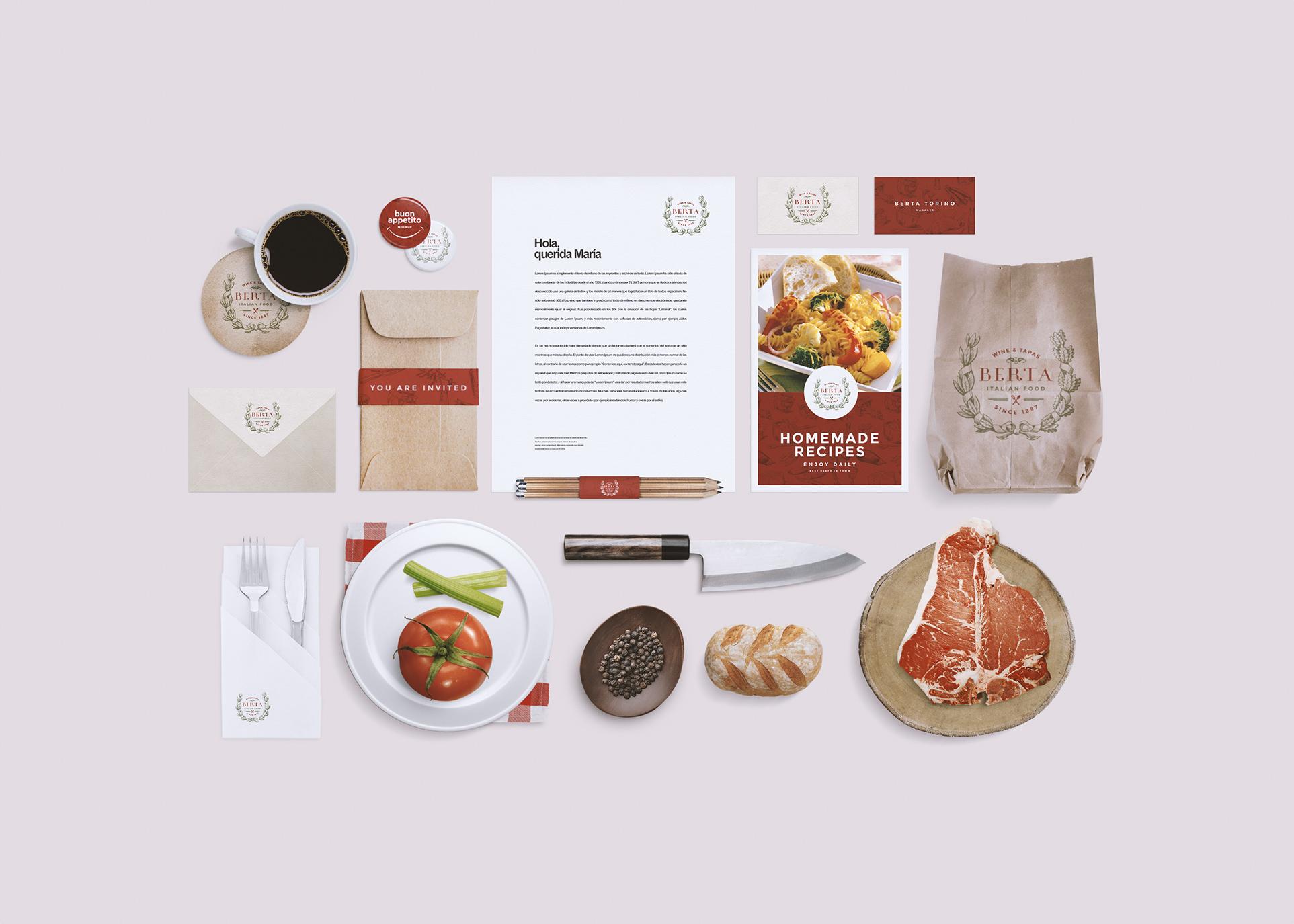 Restaurant/Food Identity Mockup ~ Product Mockups on ...
