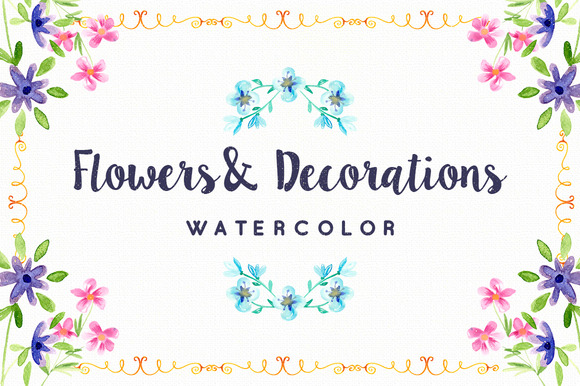 Watercolor Flowers And Decorations