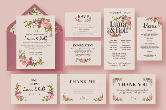 Floral wedding invitation suite invitation templates on for Wedding invitation suite what to include