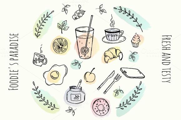 Vector Hand Drawn Food Elements
