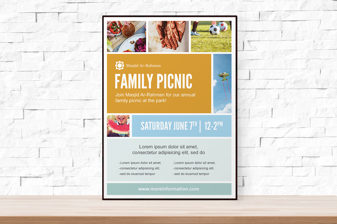 Photo collage picnic flyer template flyer templates on for 11x17 poster template photoshop
